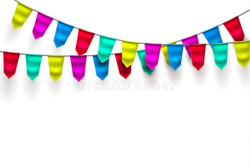 Vector realistic bunting 3d flag decoration royalty free illustration