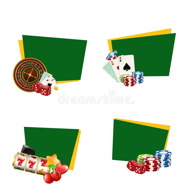 Vector casino gamble stickers with place for text royalty free illustration
