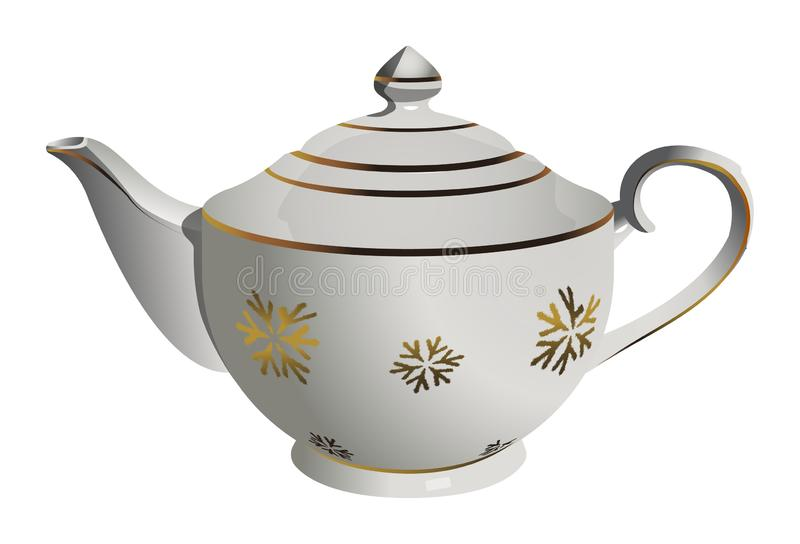 Vector realistic ceramic tea pot with snowflake ornament vector illustration
