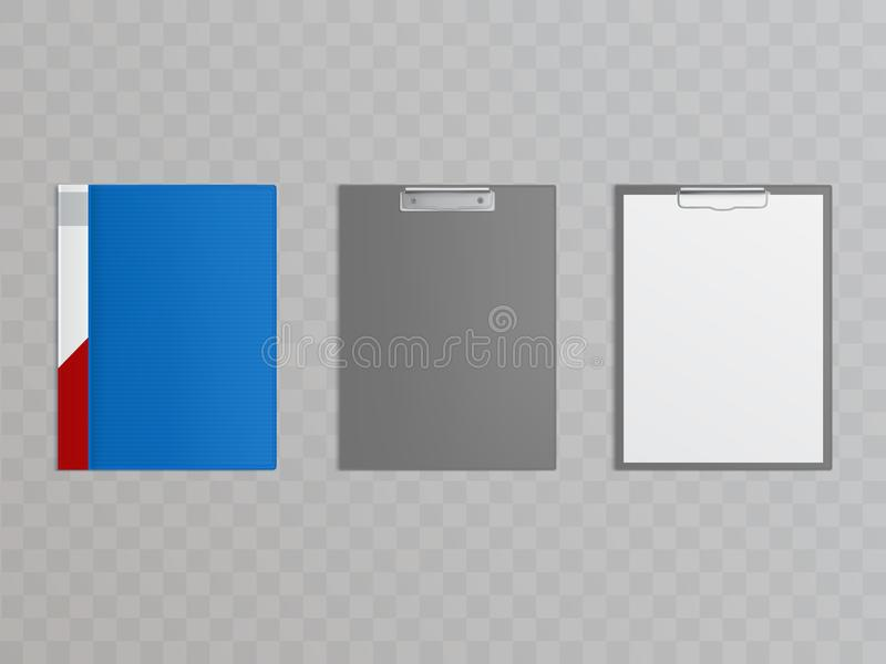 Vector realistic clipboards, folders for holding papers stock illustration