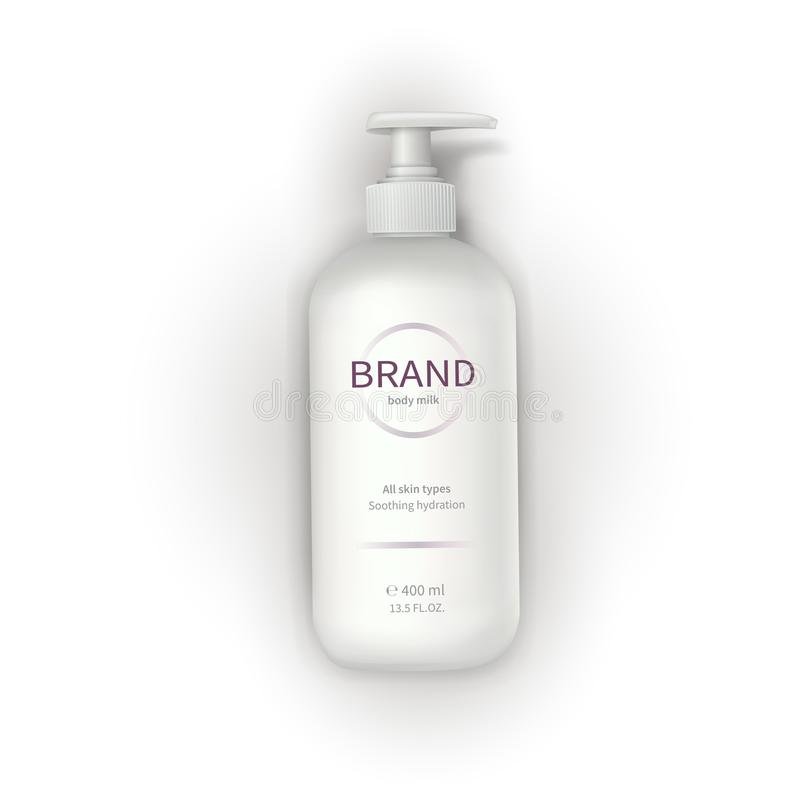 White plastic bottle with dispenser vector illustration