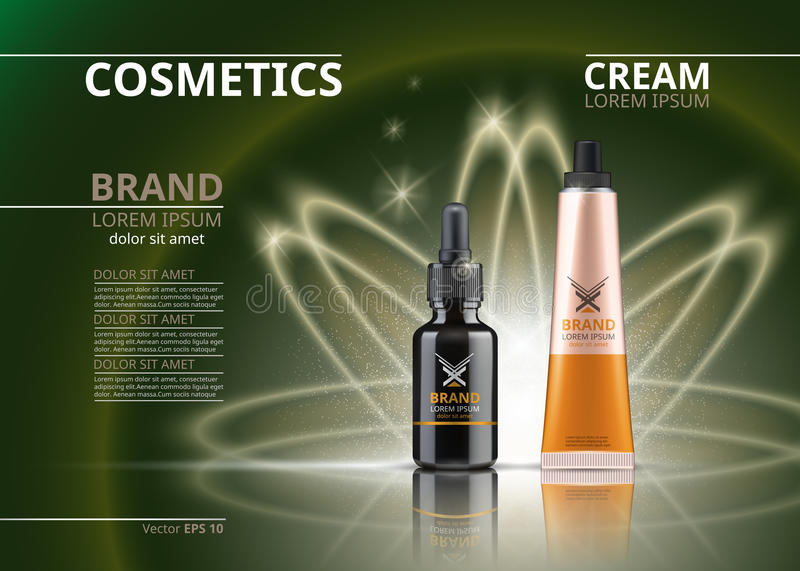 Vector Realistic Cosmetics package. Hydrating Under Eye Gel tube and face serum. Beauty products with logo label design. 3d set collection on sparkling vector illustration