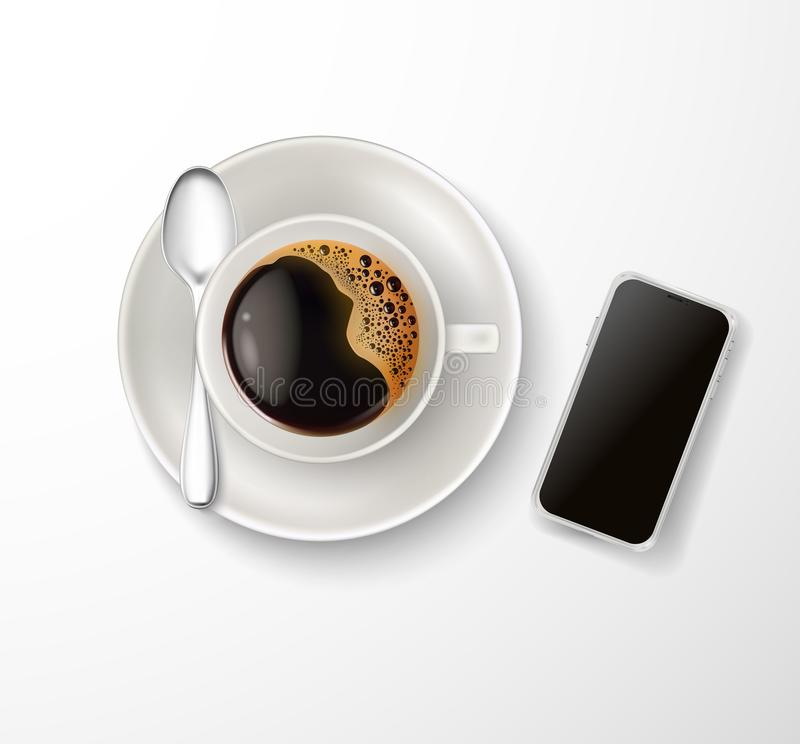 Vector realistic cup coffee saucer spoon phone. Vector realistic cup coffee with foam bubbles, saucer, spoon, smartphone top view. Hot beverage, drink white royalty free illustration