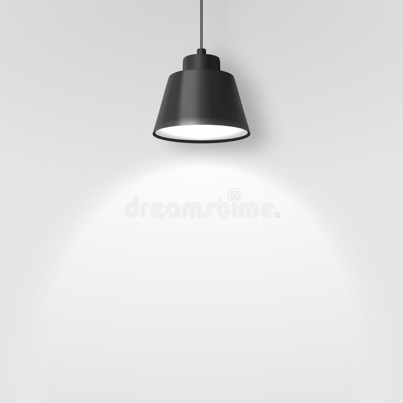 Vector Realistic 3d Black Spotlight, Hang Ceiling Lamp or Chandelier on Rope Illuminating the Wall Closeup on Grey. Background. Design Template of Glowing royalty free illustration