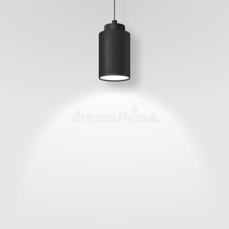 Vector Realistic 3d Black Spotlight, Hang Ceiling Lamp or Chandelier on Rope Illuminating the Wall Under it Closeup on. Grey Background. Design Template of royalty free illustration