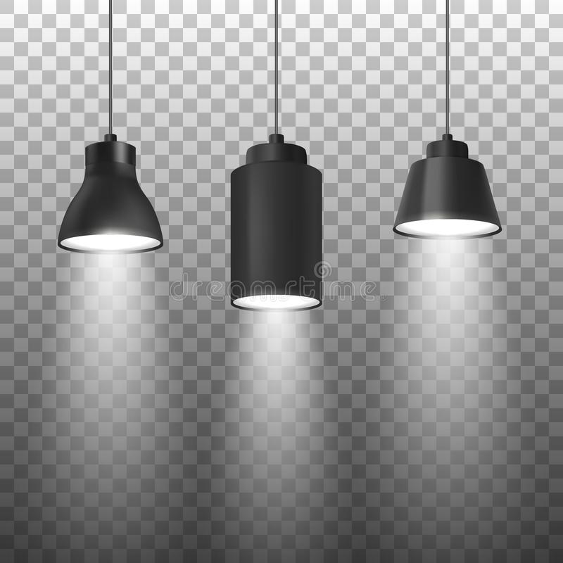 Vector Realistic 3d Black Spotlights or Hang Ceiling Lamp Set on Rope Closeup Isolated on Transparent Background. Design. Template of Glowing Spots Lamps with stock illustration