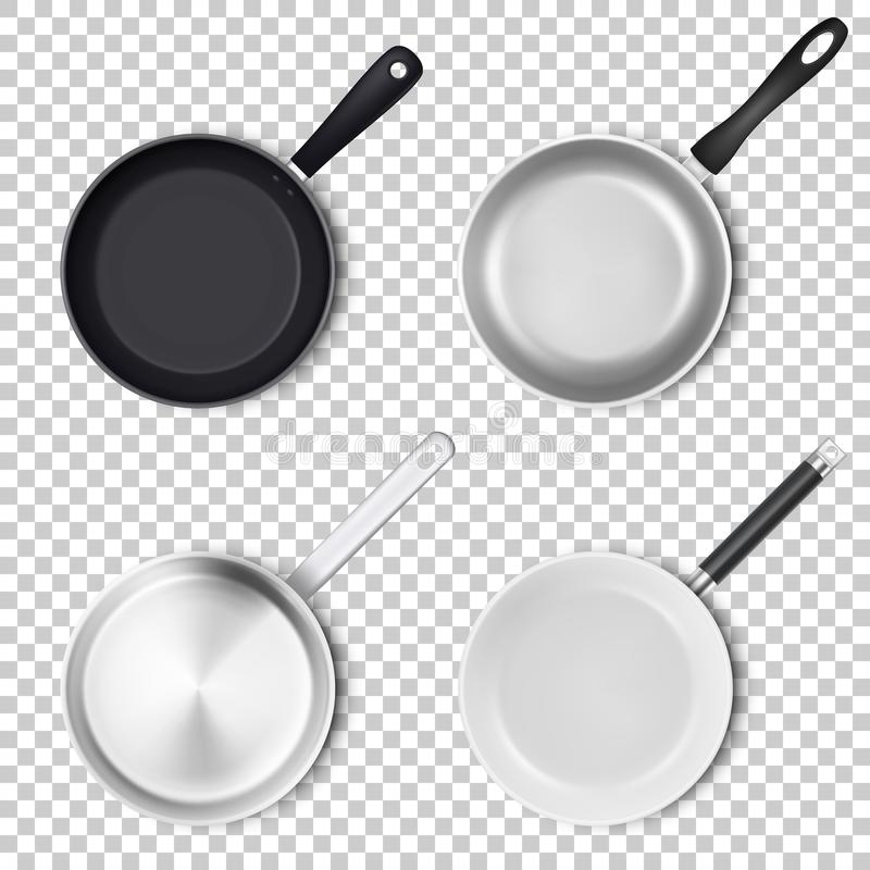 Vector realistic 3d empty black, silver, non-stick, enamel, white cover surface frying pan icon set in top view isolated. On transparency grid background vector illustration