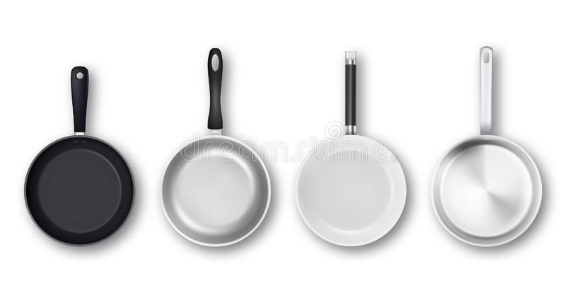 Vector realistic 3d empty black, silver, non-stick, enamel, white cover surface frying pan icon set in top view isolated. On white background. Design template stock illustration
