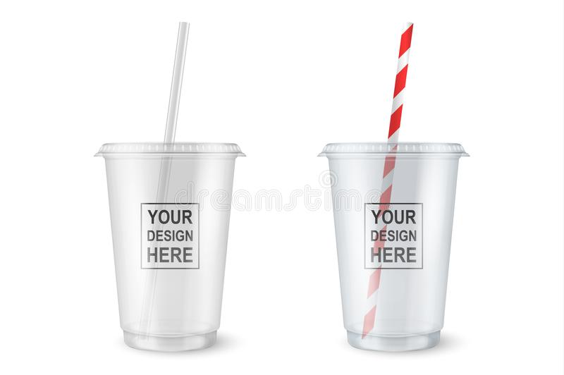 Vector realistic 3d empty clear plastic disposable cup with a straw set closeup isolated on white background. Design vector illustration