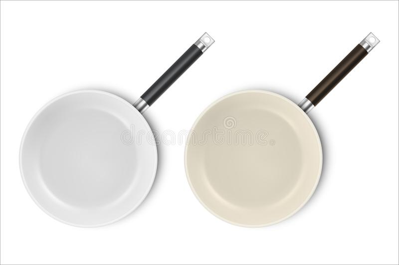 Vector realistic 3d empty non-stick, enamel cover surface frying pan icon set in top view closeup isolated on white. Background. Design template for graphics royalty free illustration