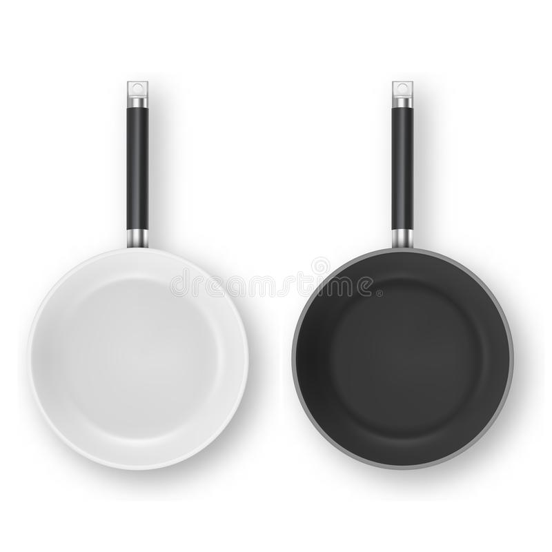 Vector realistic 3d empty white and black non-stick, enamel cover surface frying pan icon set in top view closeup. Isolated on white background. Design template royalty free illustration