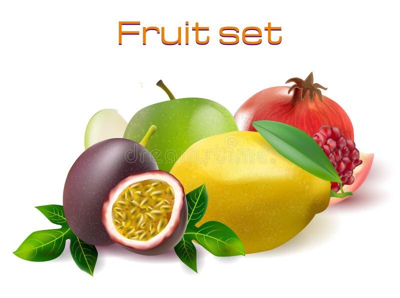 Vector realistic 3d fruit set. Passionfruit, pomegranate, lemon apple. Vector realistic 3d fruit set illustration. Passionfruit, pomegranate, lemon and apple royalty free illustration