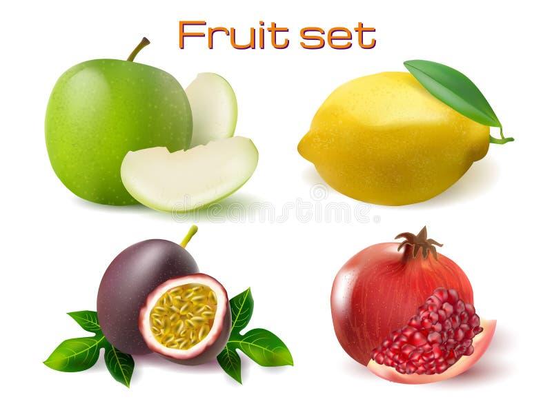 Vector realistic 3d fruit set. Passionfruit, pomegranate, lemon apple isolated. Vector realistic 3d fruit set illustration. Passionfruit, pomegranate, lemon and vector illustration