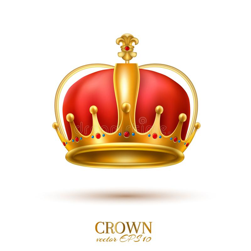 Vector realistic 3d golden crown stock illustration