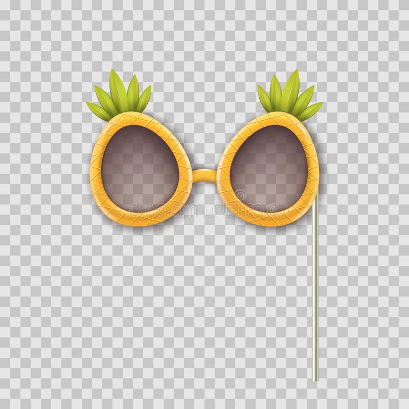 Vector realistic 3d illustration of photo booth props pineapple glasses. Object isolated on transparent background. vector illustration
