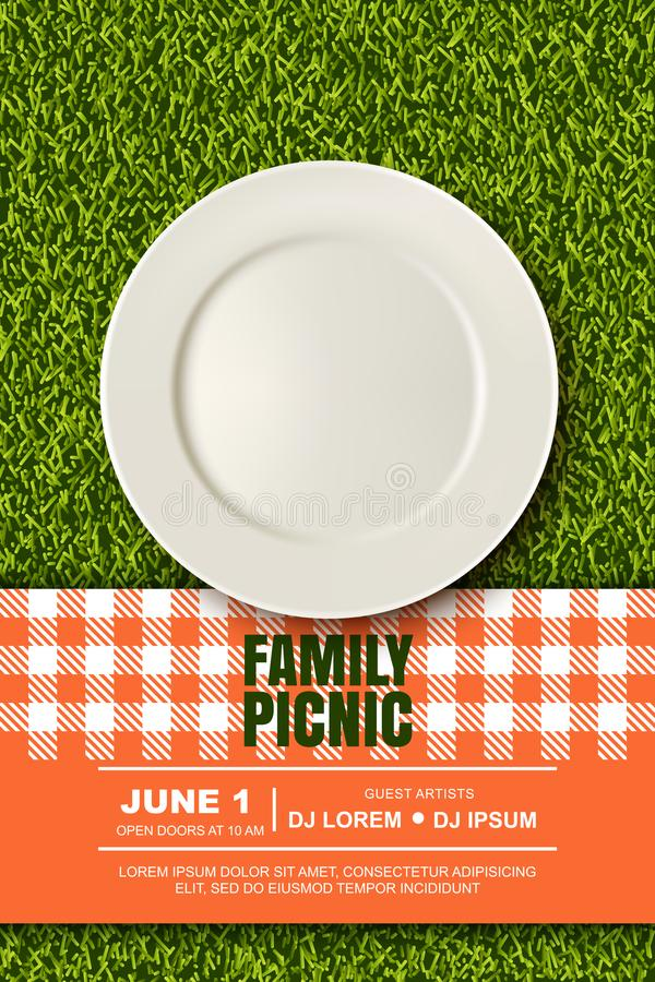 Vector realistic 3d illustration of plate, red plaid on green grass lawn. Picnic in park. Banner, poster design template vector illustration