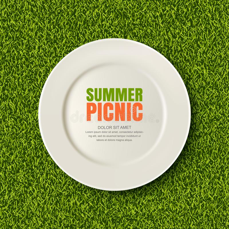 Vector realistic 3d illustration of white plate on green grass lawn. Picnic in park. Banner, poster design template. royalty free illustration