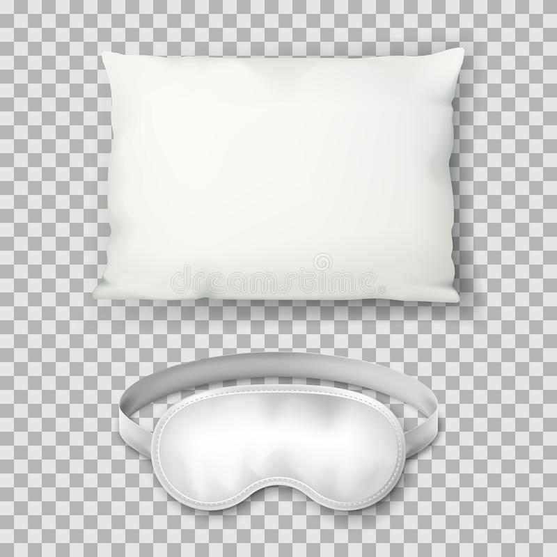 Vector realistic 3d illustration of white pillow and sleeping mask. Cushion top view icon. Mock up design template. Vector realistic 3d illustration of white vector illustration