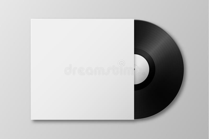 Vector realistic 3d music gramophone vinyl LP record with cover icon closeup isolated on white background. Design vector illustration