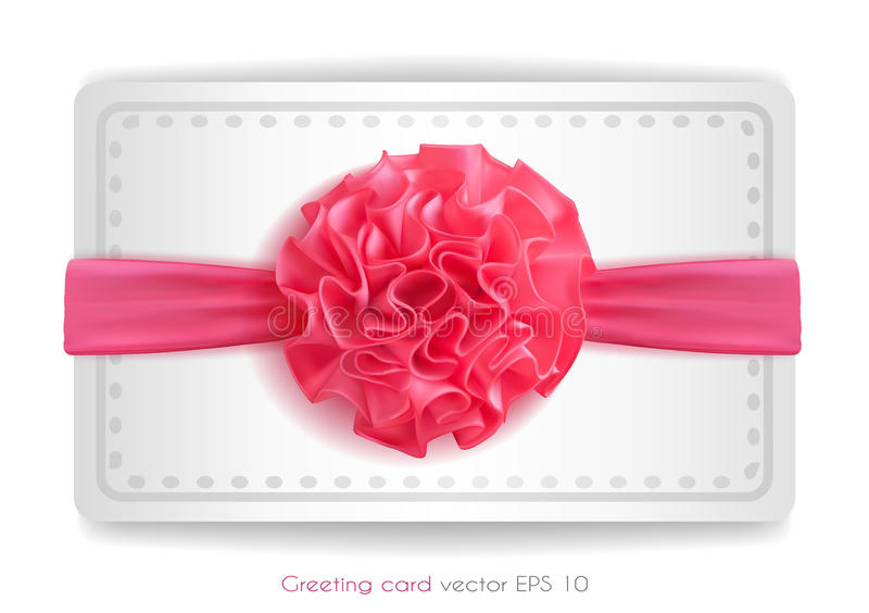 Vector realistic 3d pink silk ribbon with bow isolated. Vector realistic pink silk ribbon with bow. holiday present gift package. Sign of happy women`s day,8th stock illustration