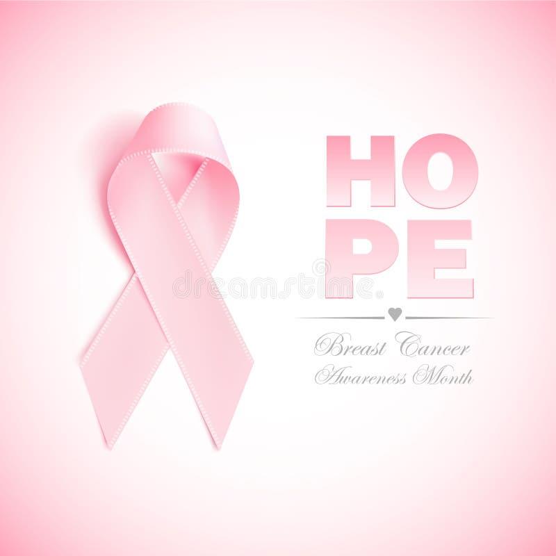 Vector realistic 3d pink silk ribbon breast cancer. Realistic 3d pink ribbon, breast cancer awareness symbol. Vector elegant bow closeup, woman female health vector illustration