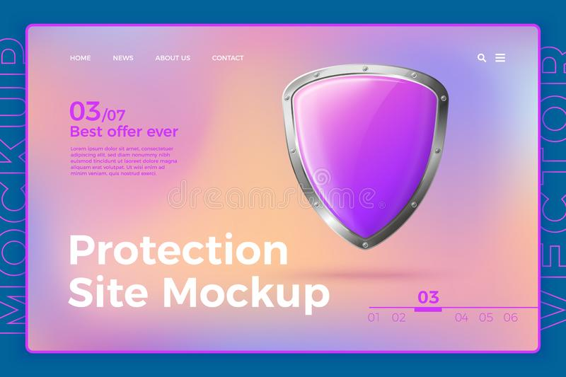 Vector protection site template with shield. Vector realistic 3d protection site template with shield on bright modern site with typographic background. Mock-up stock illustration