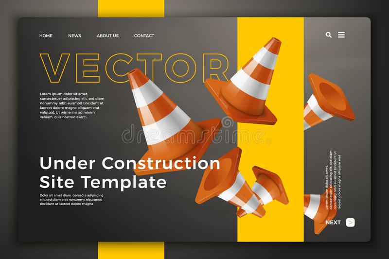Vector 3d road cones on bright site template. Vector realistic 3d road cones isolated on bright modern site template with typographic background. Mock-up for stock illustration