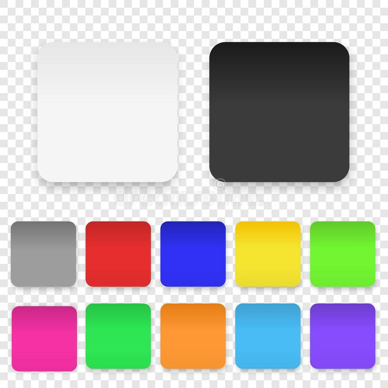 Vector Realistic 3d Square Adhesive Colored Blank Paper Sticker Icon Set Closeup Isolated on Transparent Background vector illustration