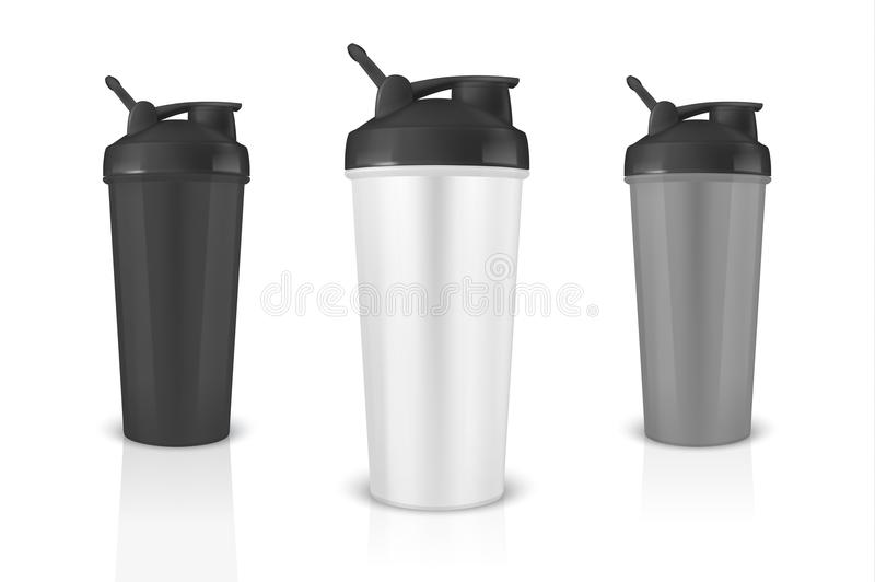 Vector realistic 3d white, black and gray empty glossy metal shaker for sports nutrition with black cap icon set closeup royalty free illustration