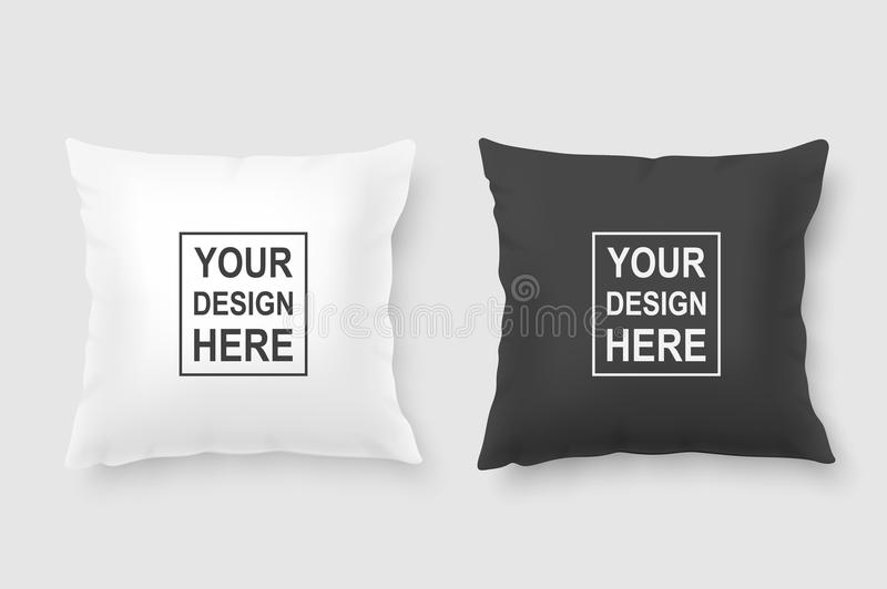 Vector realistic 3d white and black pillow set closeup isolated on white background. Design template for graphics and. Mockup. Top view vector illustration