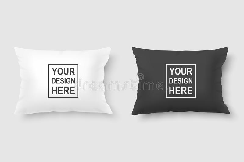Vector realistic 3d white and black pillow set closeup isolated on white background. Design template for graphics and. Mockup. Top view stock illustration