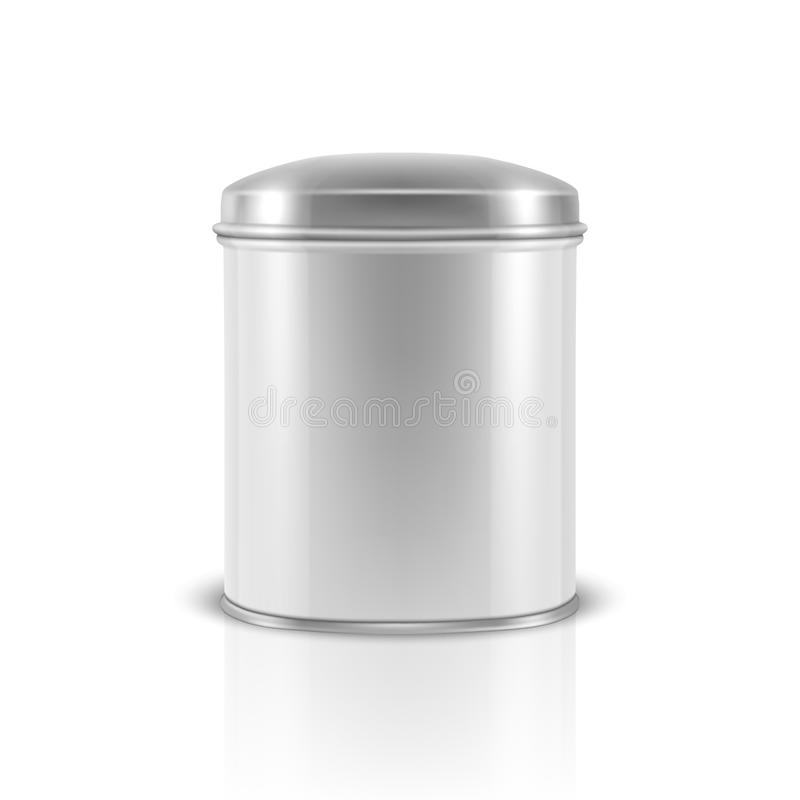 Vector realistic 3d white blank metal aluminium tin can container with silver cap oval shape closeup isolated on white royalty free illustration
