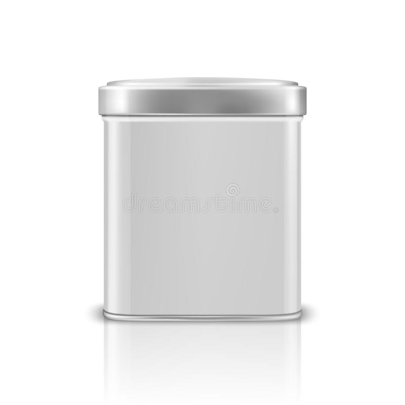 Vector realistic 3d white blank metal aluminium tin can container with silver cap square or rectangular shape closeup royalty free illustration