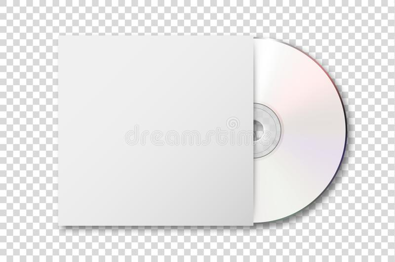 Vector realistic 3d white cd with cover icon isolated on transparency grid background. Design template of packaging. Mockup for graphics. Top view stock illustration