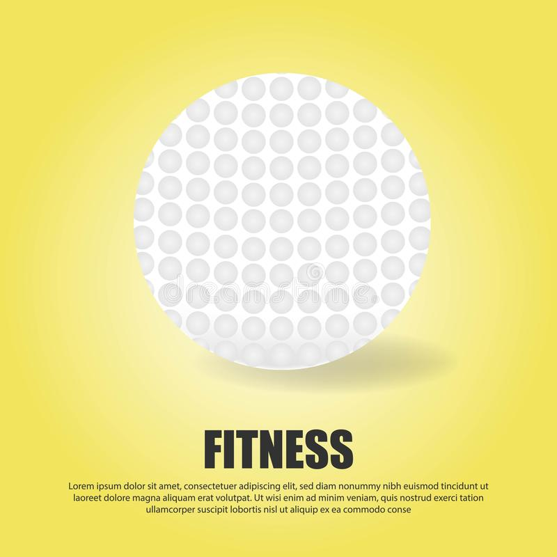 Vector realistic 3d white classic golf ball isolated on gradient yellow background. Design template for graphics, mockup. Top view vector illustration