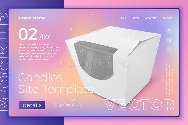 Vector white snack or candies box site template royalty free illustration
