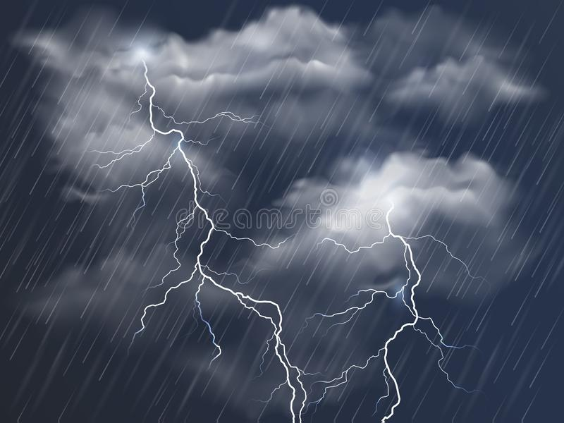 Vector realistic dark stormy sky with clouds, heavy rain and lightning strikes royalty free illustration