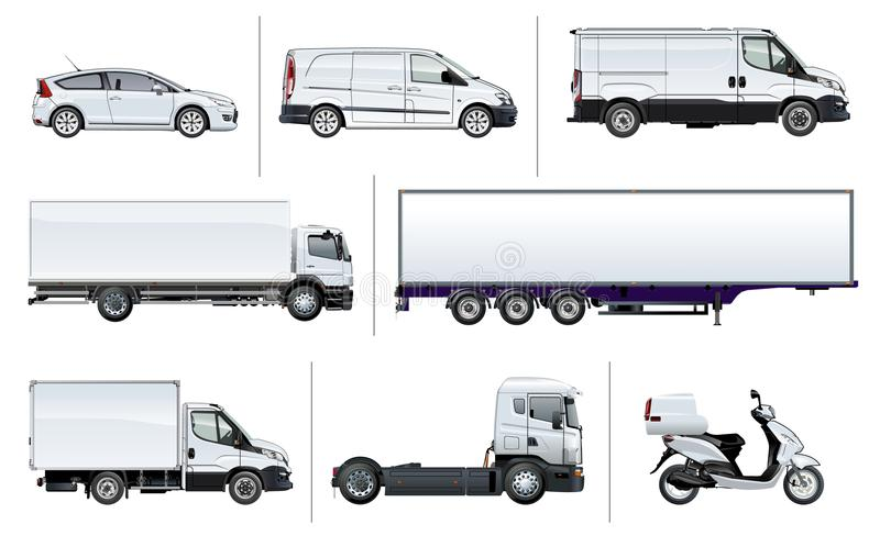 Vector realistic delivery transport mock-up stock illustration