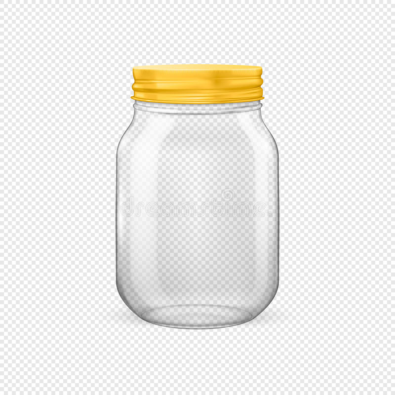 Vector realistic empty glass jar for canning and preserving with golden lid. Closeup isolated on transparent background. Design template for advertise, branding royalty free illustration