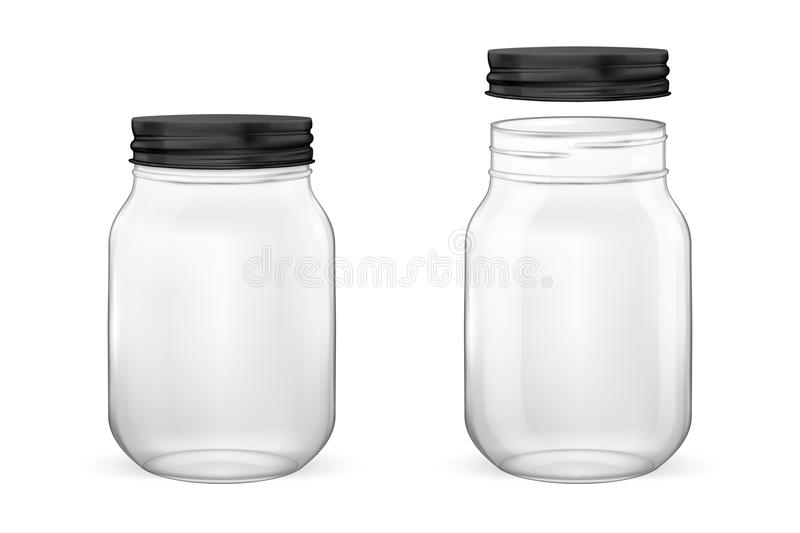 Vector realistic empty glass jar for canning and preserving set with black lid - open and closed - closeup isolated on. White background. Design template for royalty free illustration