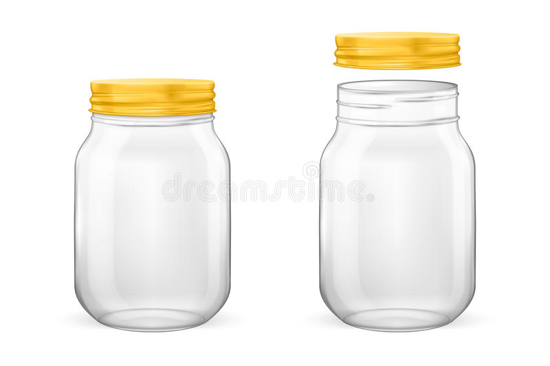 Vector realistic empty glass jar for canning and preserving set with golden lid - open and closed - closeup isolated on. White background. Design template for vector illustration