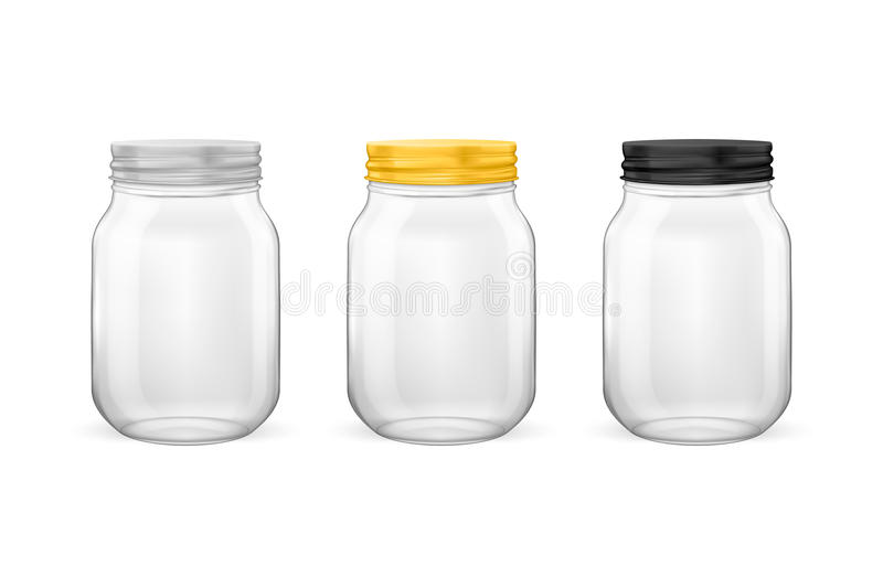 Vector realistic empty glass jar for canning and preserving set. With silvery, golden and black lids closeup isolated on white background. Design templates for vector illustration
