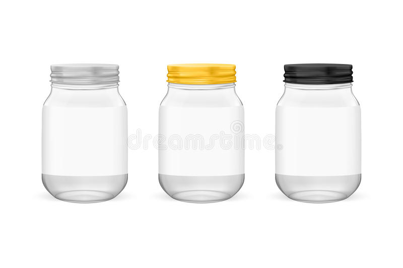 Vector realistic empty glass jar for canning and preserving set with silvery, golden and black lids closeup isolated on. White background. Design templates for stock illustration