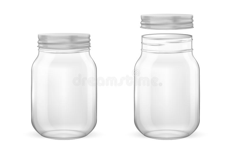 Vector realistic empty glass jar for canning and preserving set with silvery lid - open and closed - closeup isolated on. White background. Design template for stock illustration