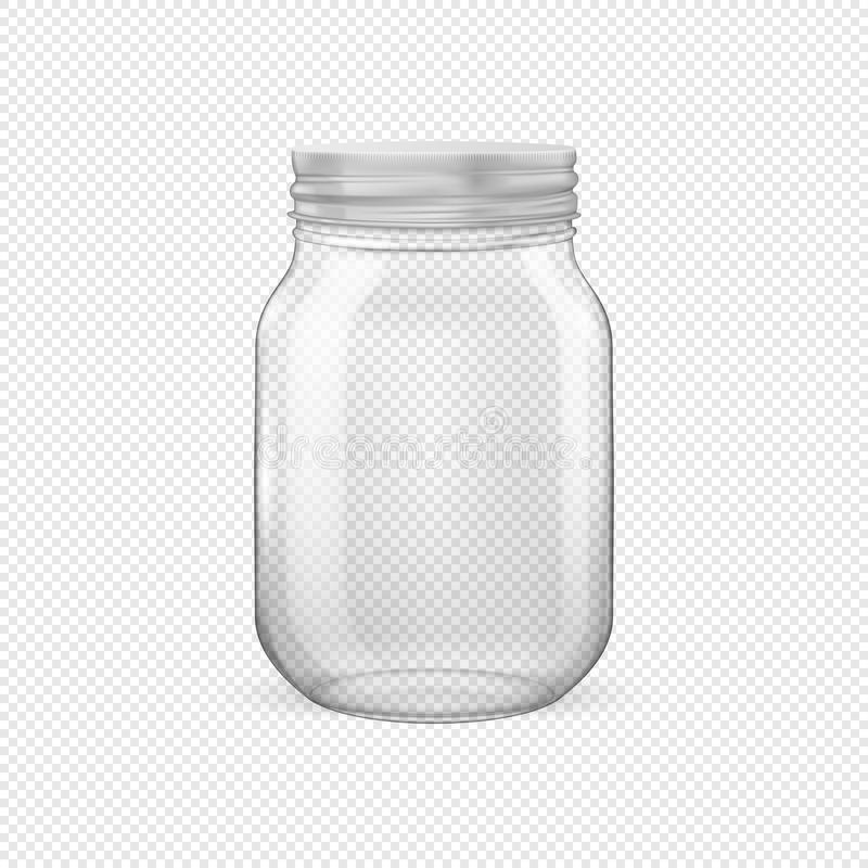 Vector realistic empty glass jar for canning and preserving with silvery lid. Closeup isolated on transparent background. Design template for advertise stock illustration
