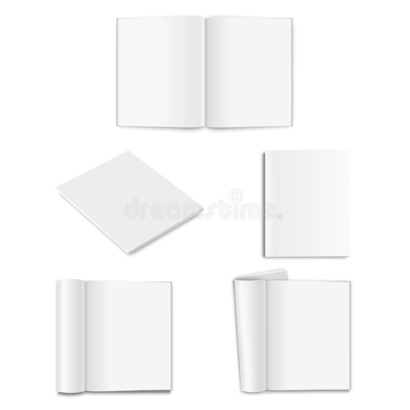 Vector realistic empty paper closed and opened A5 magazine, book, catalog or brochure with rolled white paper pages stock illustration