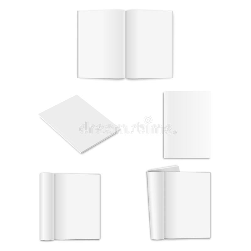 Vector realistic empty paper closed and opened A4 vertical magazine, book, catalog or brochure with rolled white paper royalty free illustration