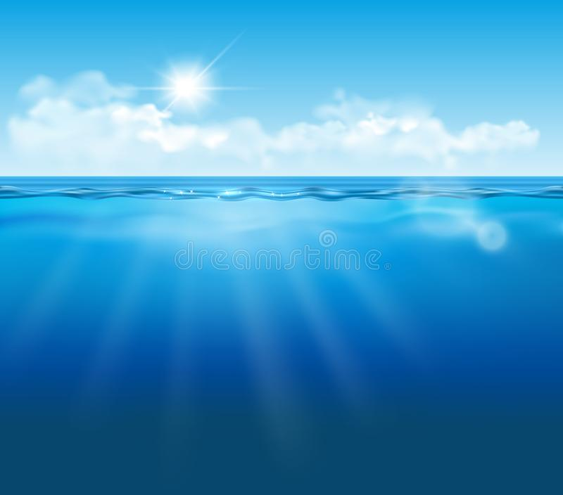 Vector realistic empty underwater view with blue sky, clouds and sun and light effects stock illustration