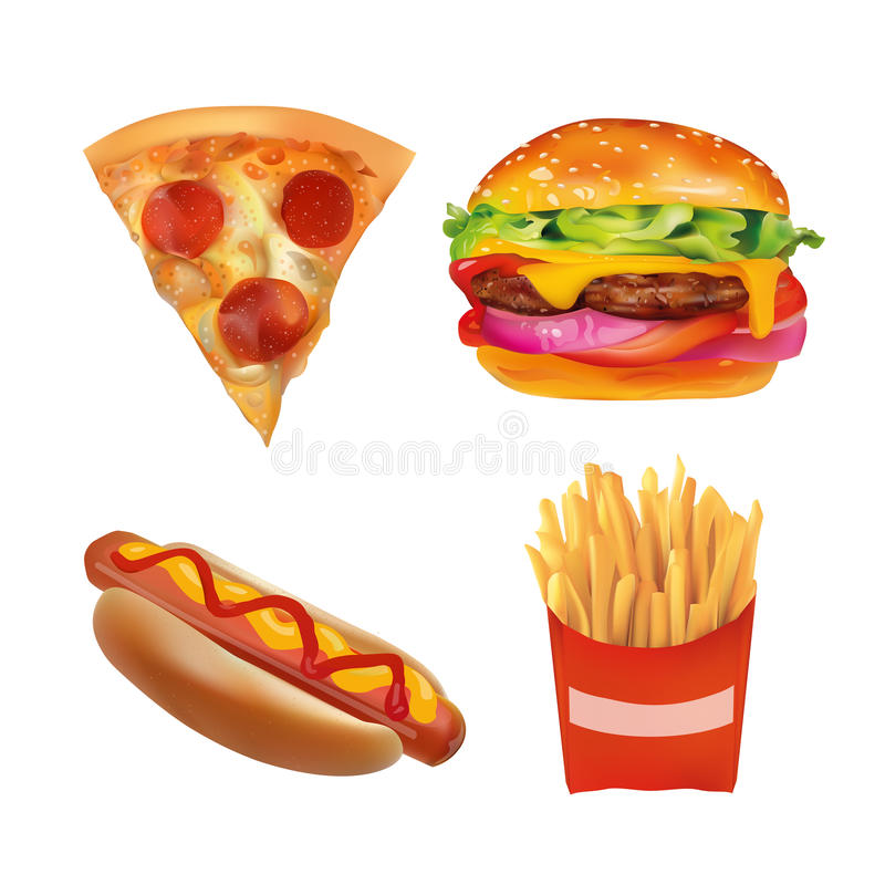 Vector Realistic fast Food Set. Burger, Pizza, Beverage, Coffee, French Fries, Hot Dog, Ketchup, Mustard. Isolated On White stock illustration