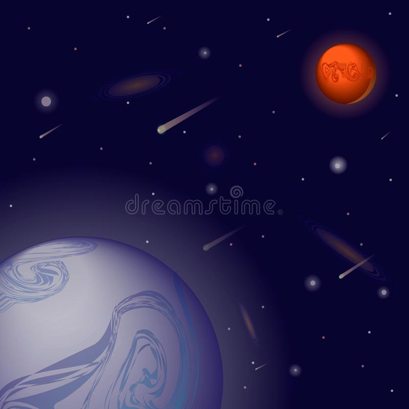 Download Vector Realistic And Futuristic Space Background With Bright Light Planets Stars Abstract Universe